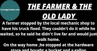 """A farmer stopped by the local mechanic shop to have his truck fixed. They couldn't do it while he waited, so he said he didn't live far and would just walk home.    On the way home ,he stopped at the hardware store and bought a bucket and a gallon of paint. He then stopped by the feed store and picked up a couple of chickens and a goose. However, struggling outside the store he now had a problem - how to carry his entire purchases home.    While he was scratching his head he was approached by a little old lady who told him she was lost. She asked, """"Can you tell me how to get to 1603 Mockingbird Lane?"""" The farmer said, """"Well, as a matter of fact, my farm is very close to that house. I would walk you there but I can't carry this lot.""""    The old lady suggested, """"Why don't you put the can of paint in the bucket. Carry the bucket in one hand; put a chicken under each arm and carry the goose in your other hand?""""    """"Why thank you very much,"""" he said and proceeded to walk the old girl home.    On the way ,he says """"Let's take my shortcut and go down this alley. We'll be there in no time.""""    The little old lady looked him over cautiously then said, """"I am a lonely widow without a husband to defend me. How do I know that when we get in the alley you won't hold me up against the wall, pull up my skirt, and have your way with me?""""    The farmer said, """"Gosh lady! I'm carrying a bucket, a gallon of paint, two chickens, and a goose. How in the world could I possibly hold you up against the wall and do that?""""    The old lady replied, """"Set the goose down, cover him with the bucket, put the paint on top of the bucket, and I'll hold the chickens. Funnygrannies.com"""