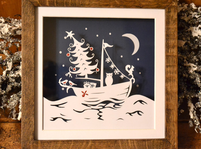 Christmas paper cutting wall art