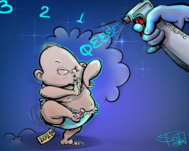 new-year-2021-sketches μωρό νέο έτος γελοιογραφία ψεκασμένο Πρωτοχρονιάτικο σκίτσο - Καλή Χρονιά!