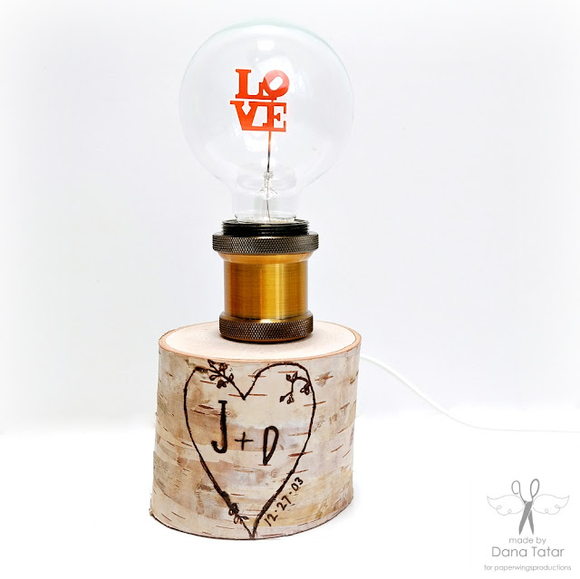 Wood Burned Carved Love Birch Pillar Lamp by Dana Tatar for Paper Wings Productions