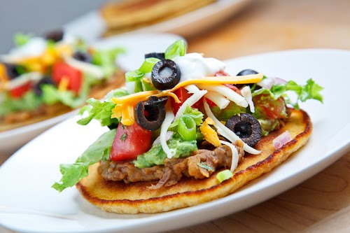 Seven Layer Dip Cornmeal Pancakes