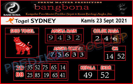 Prediksi Bangbona Sydney Kamis 23 September 2021