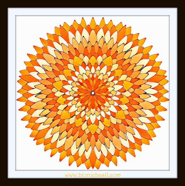 Mandalas on Monday @BionicBasil® Colouring With Cats #88 Finished Mandala Coloured by Cathrine Garnell 19-8-19