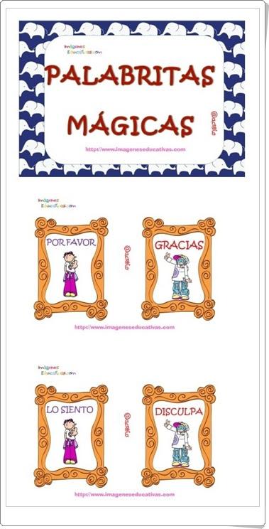 """""""Palabritas mágicas"""" (Cuadernillo de tarjetas imprimibles sobre comportamiento en Educación Infantil)"""
