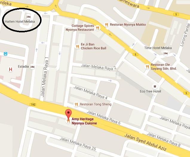 Malacca - Amy Heritage Nyonya Cuisine Map