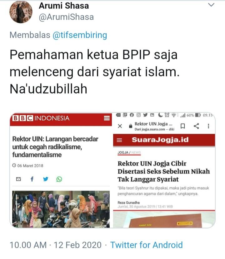 Bongkar Pemikiran Kepala BPIP, Netizen Unggah 2 Bukti Telak