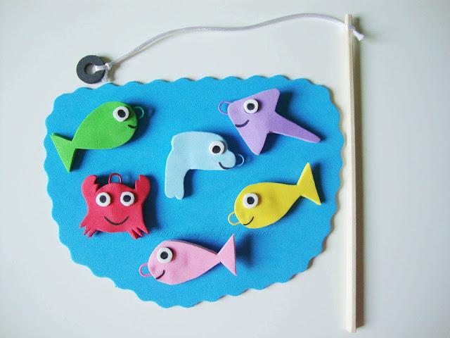 Divertido juego de pesca en goma eva