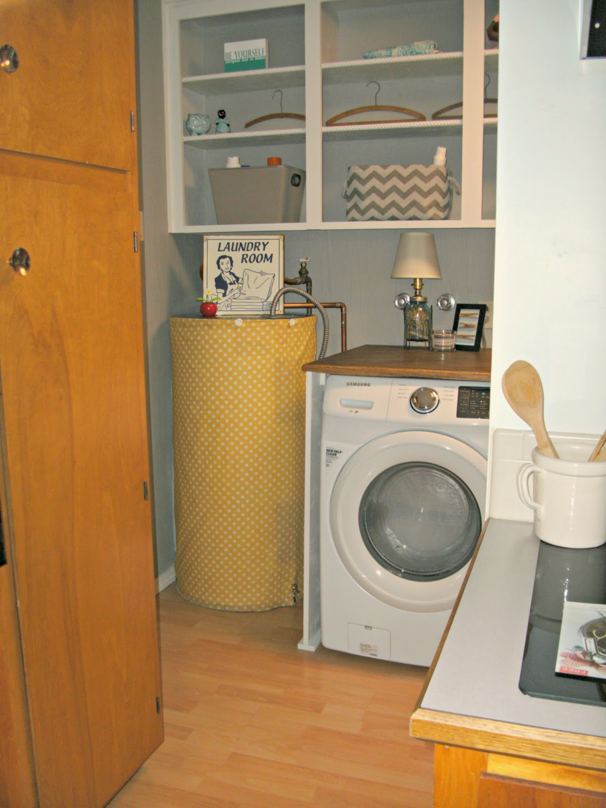 Laundry Room Redo Hiding The Electrical Panel Hot Water Heater Little Vintage Cottage