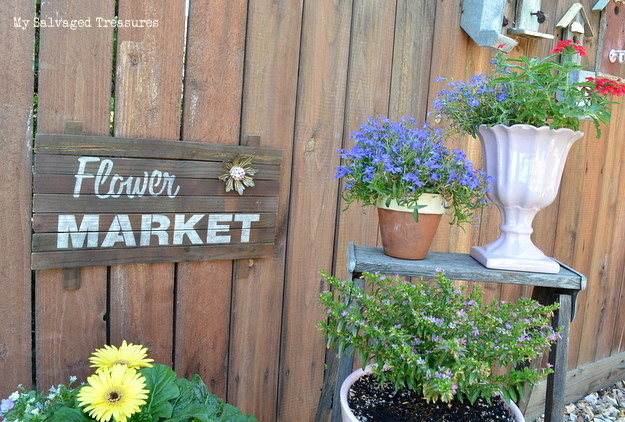 use free scrap wood to build a rustic flower market garden sign