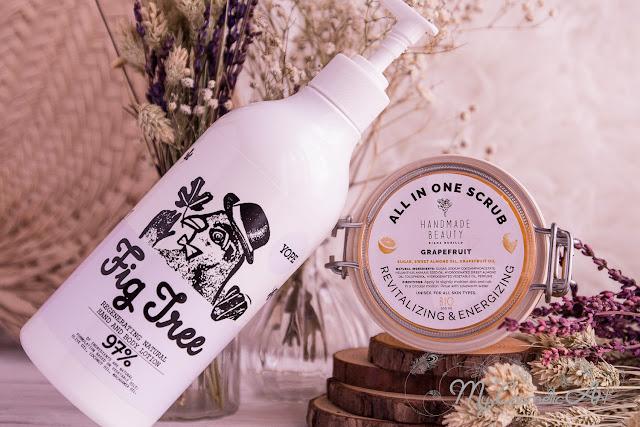 Mini Haul de cosmética nicho de Branch&Root: loción hidratante corporal de higos de Yope y exfoliante corporal de pomelo de Handmade Beauty