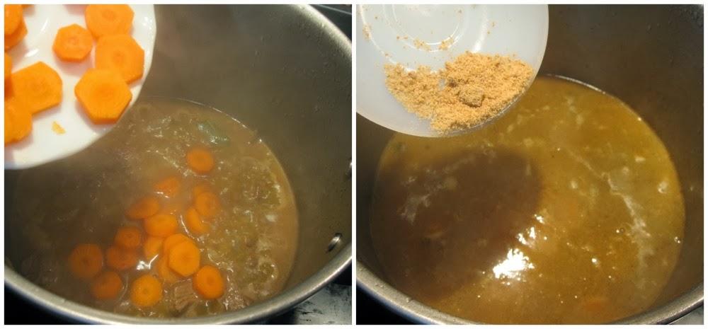 Se añade zanahoria y pastilla jamón
