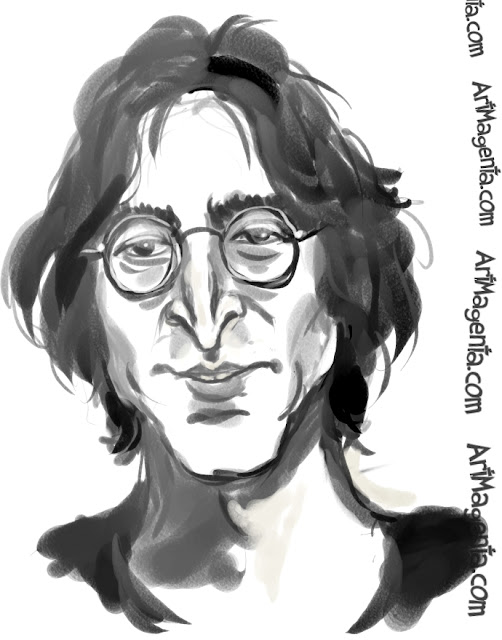 John Lennon caricature cartoon. Portrait drawing by caricaturist Artmagenta.