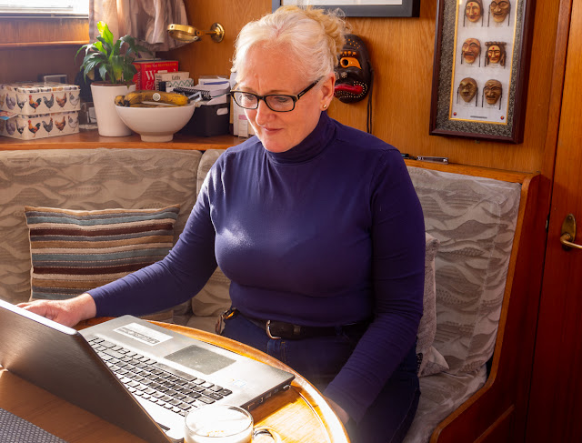 Photo of me working from home on my laptop in Ravensdale's dinette