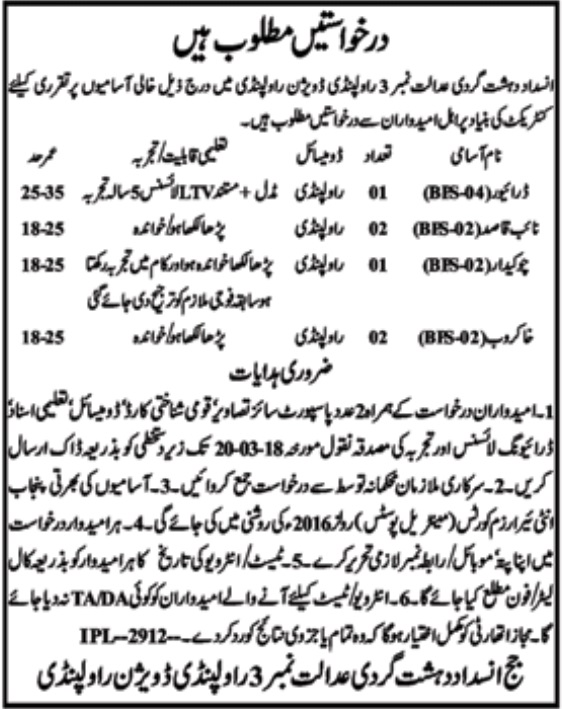 Anti Terrorism Court Rawalpindi Latest March 2018 Jobs