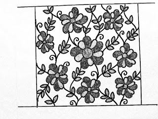All over flowers jall khaka drawings for hand embroidery on paper