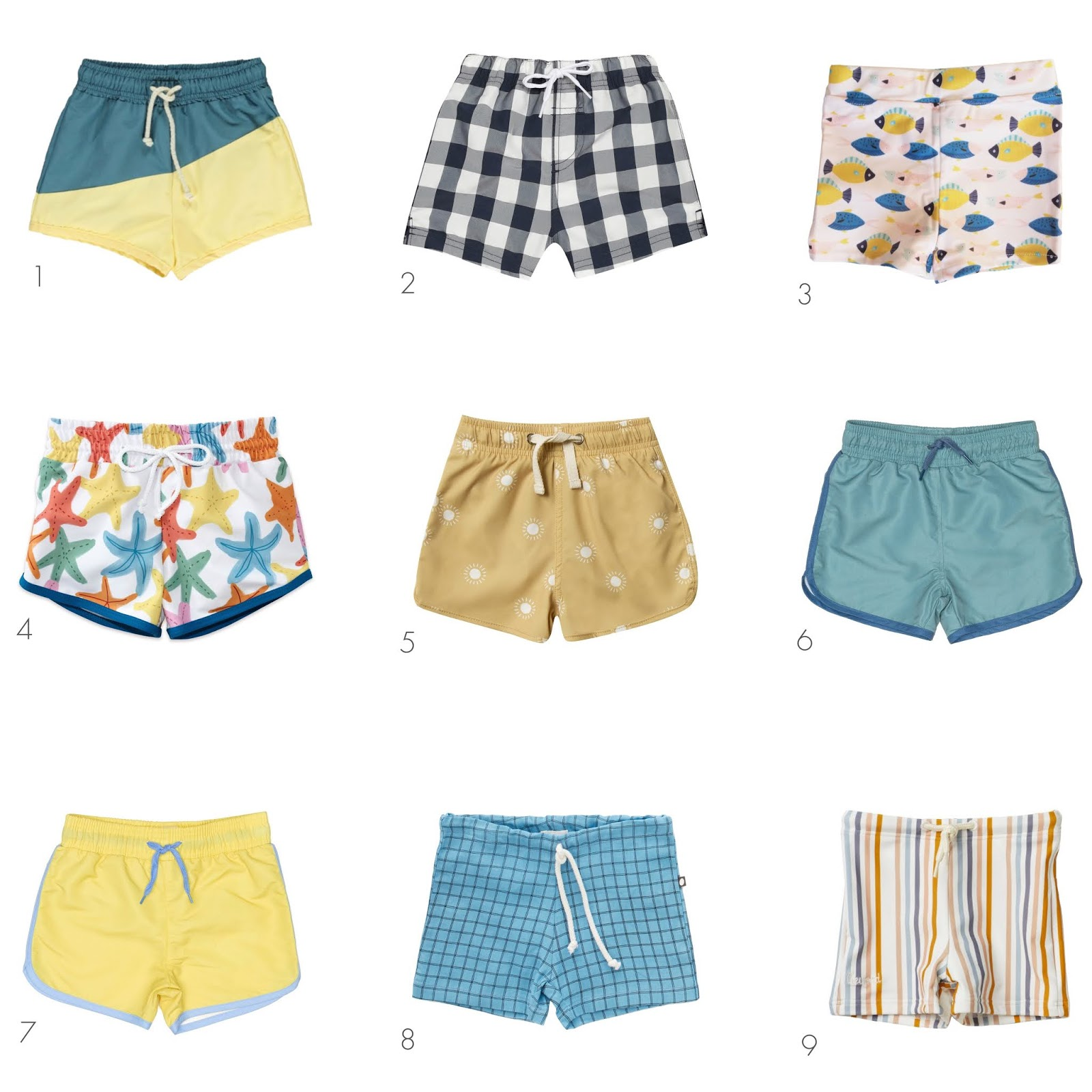 a round-up of nine swim shorts for baby boys