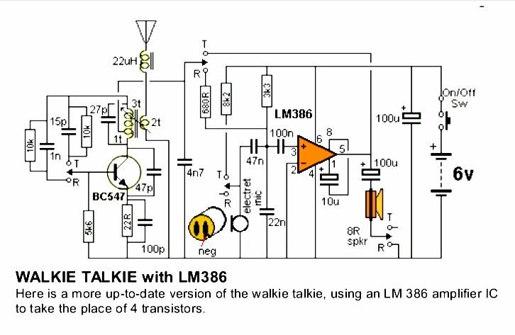skema rangkaian walkie talkie dengan ic lm386