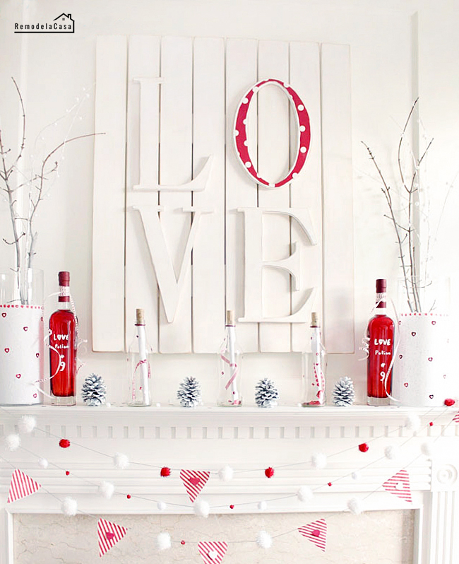 White and Red mantel display for Valentines