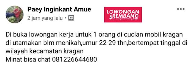 Lowongan Kerja Karyawan Cuci Mobil Kragan Rembang