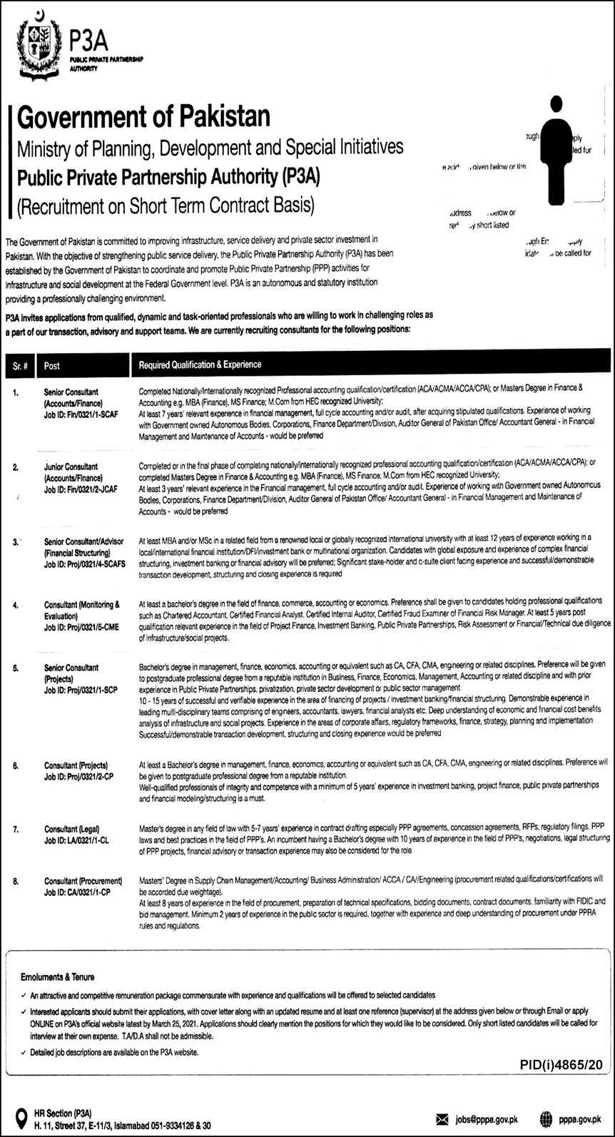 Ministry of Planning Development and Special Initiatives Islamabad Jobs 2021 in Pakistan - Latest Govt Jobs 2021