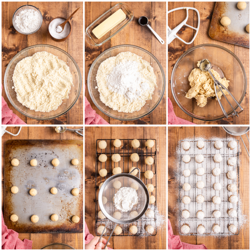 Six process photos of the making of Keto Snowball Cookies