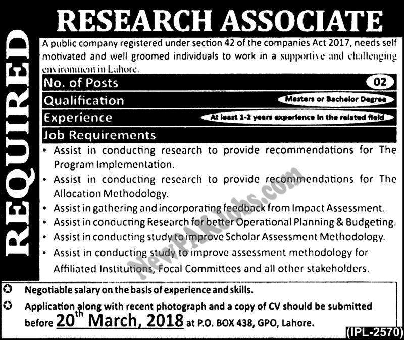 Research Associate in a Public Company Latest Jobs 2018