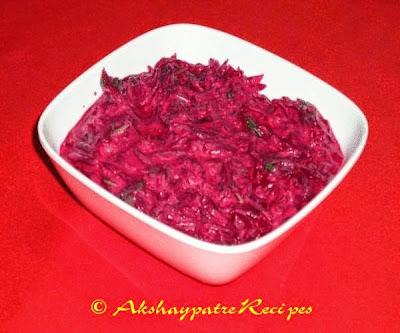 beetrroot raita in a serving bowl