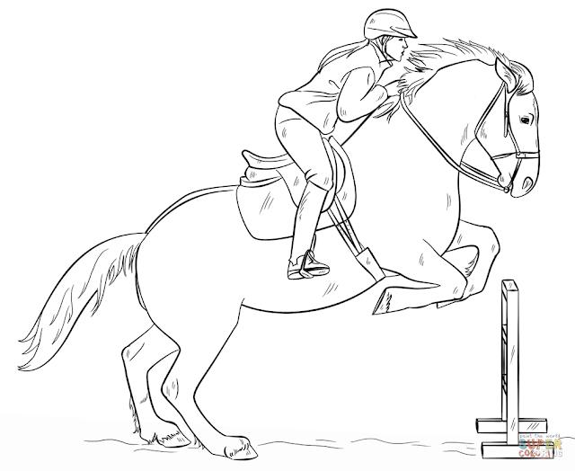 Salto de valla con caballo dibujo para colorear