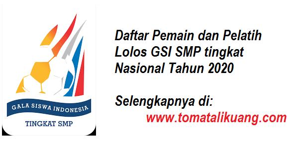 daftar pemain dan pelatih gsi smp tingkat nasional tahun 2020 tomatalikuang.com