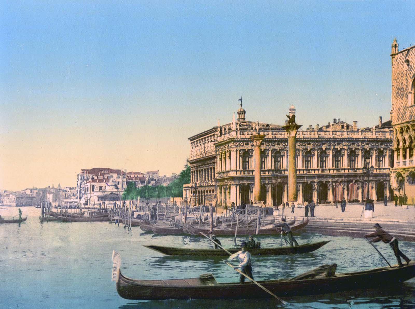 Gondolas and the Piazzetta di San Marco.