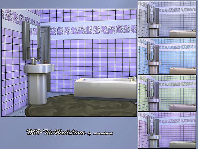 MB-TileWall Livia Плитки настенные для The Sims 4 Новая фактура плитки для современной ванной комнаты sims 4, выполненная в 5 разных цветах. Автор: matomibotak