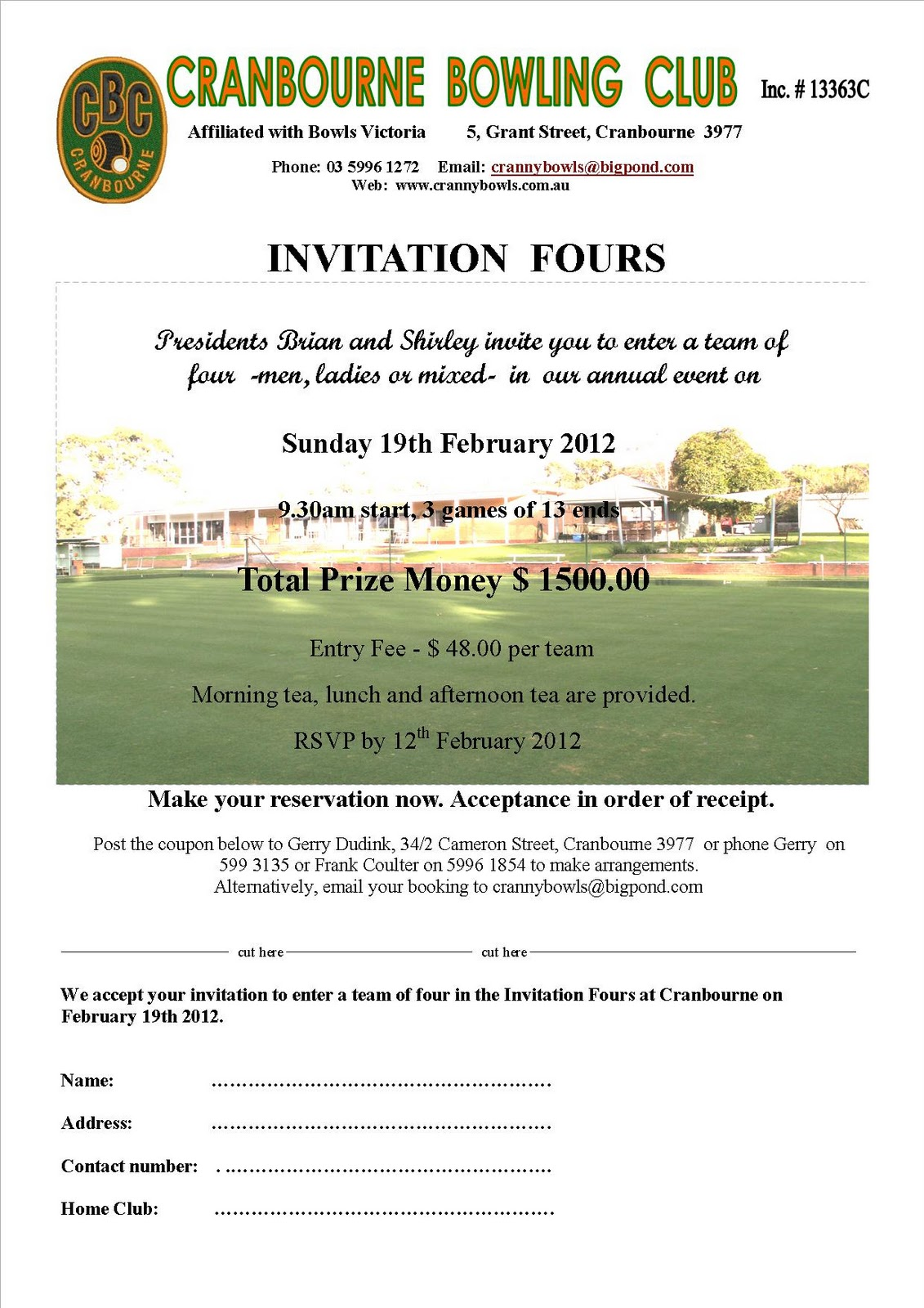 Invitation For Corporate Cricket Tournament: Tournament Invitation Letter