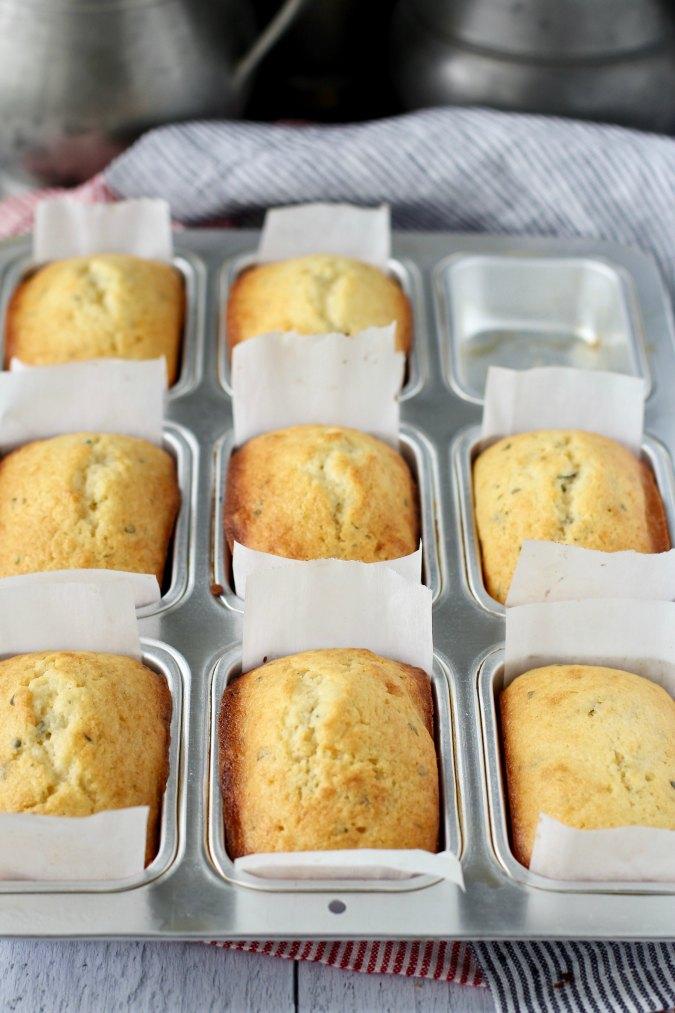 Lemon, Ricotta, & Thyme Mini Loaves in pan
