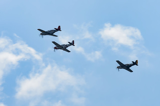 Three North American P-51 Mustangs over Washington, DC