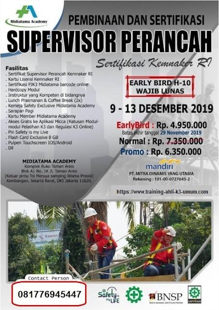 Supervisor Perancah murah tgl. 9-13 Desember 2019 di Jakarta