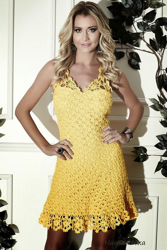 Encantador vestido de hilo / patrones ganchillo | Crochet y Dos ...