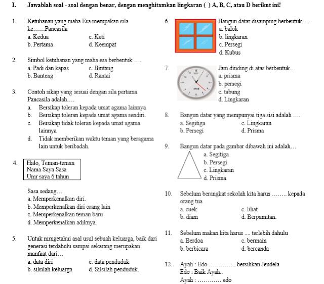 Soal Ujian Semester Kelas 1 Tema 4 SD/MI