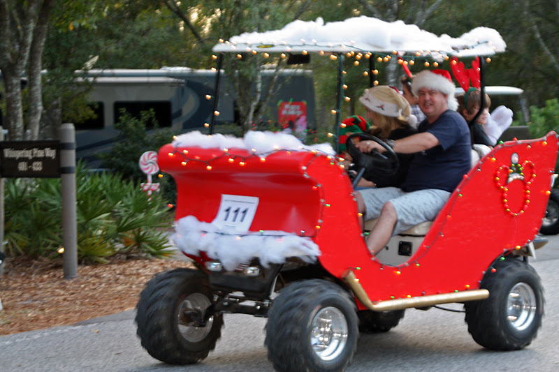 beloved bride campers with their golf carts - Golf Cart Christmas Decorations