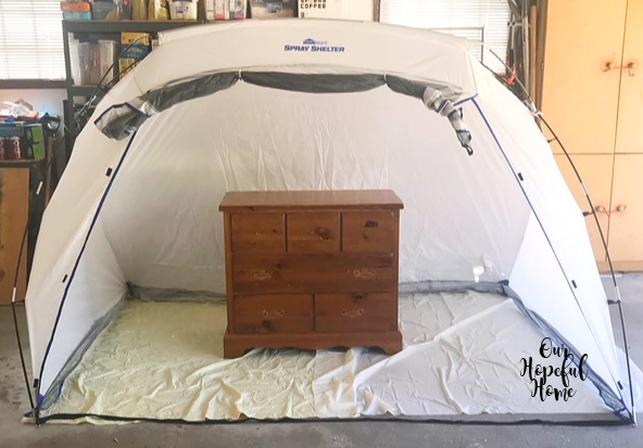 Home Right large spray tent thrifted pine dresser