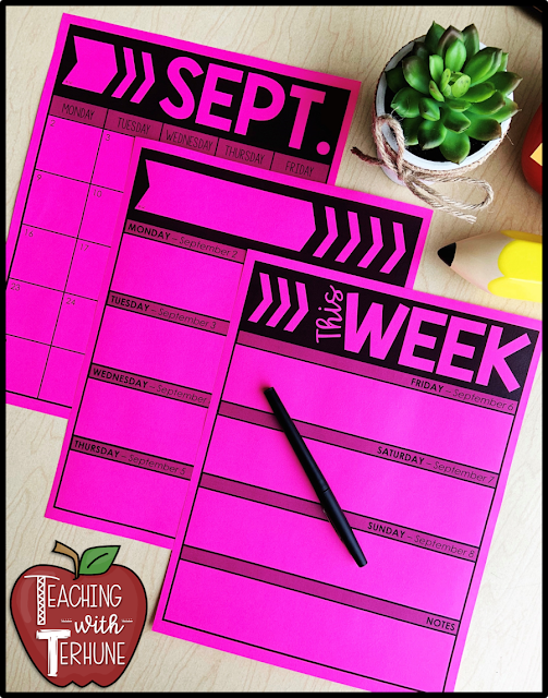Weekly Teacher Planning Pages