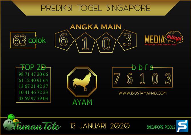 Prediksi Togel SINGAPORE TAMAN TOTO 13 JANUARI 2020