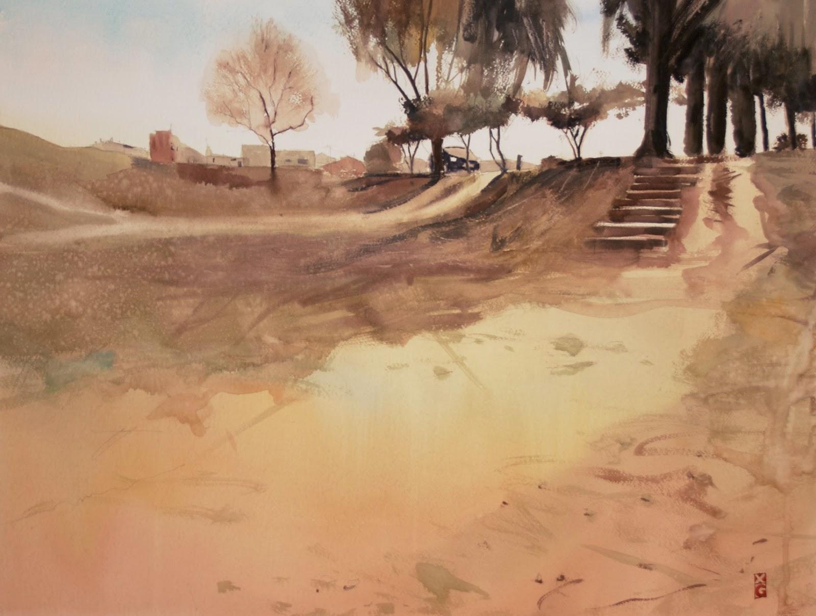 Parc Fluvial Vilanova del Cami, Anoia, Riu Anoia, Igualada, Xavier Gabriel, Xavier Gabriel Puiggòs, aquarel·la, watercolour