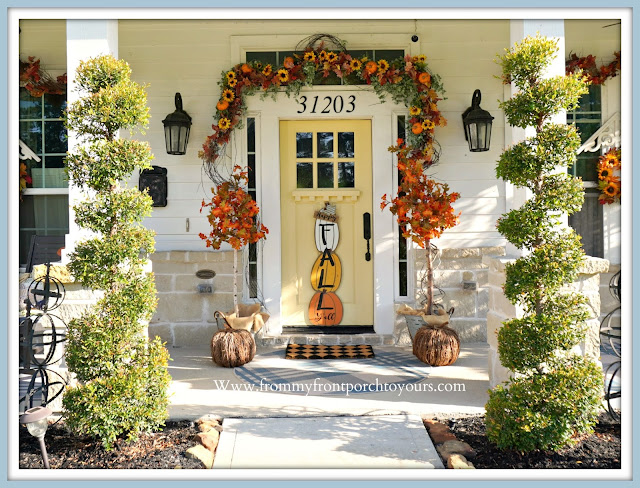 Farmhouse Cottage Style Fall Front Porch-Yellow Front Door-From My Front Porch To Yours