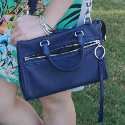 floral tee dress with Rebecca Minkoff Micro Bedford zip satchel in twilight | away from blue