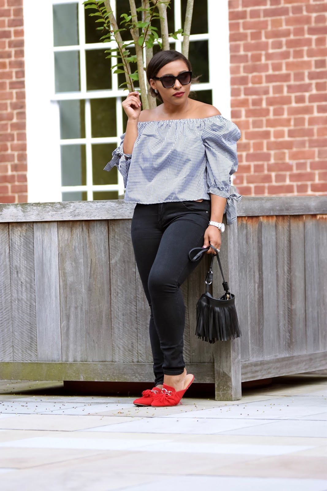 Ruffle top, off the shoulder trend, rainbowbabes, casual look, off the shoulder tops, slip on shoes