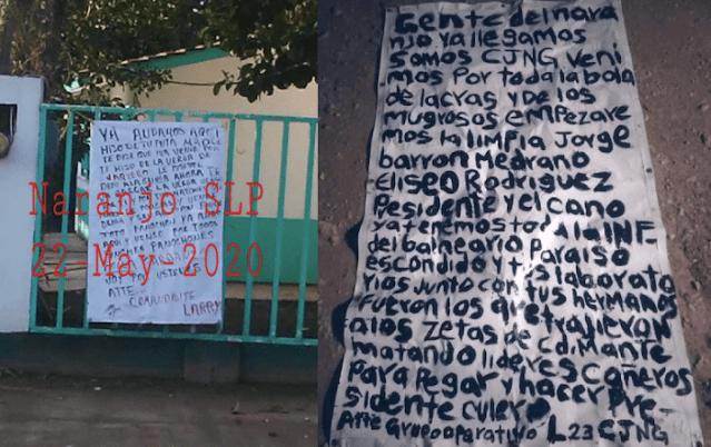 """Atención San Luis Potosi El CJNG anuncia ha llegado a su estado """"Ya les cayó la ver**, aténganse a las consecuencias"""" advierten a contrarios"""