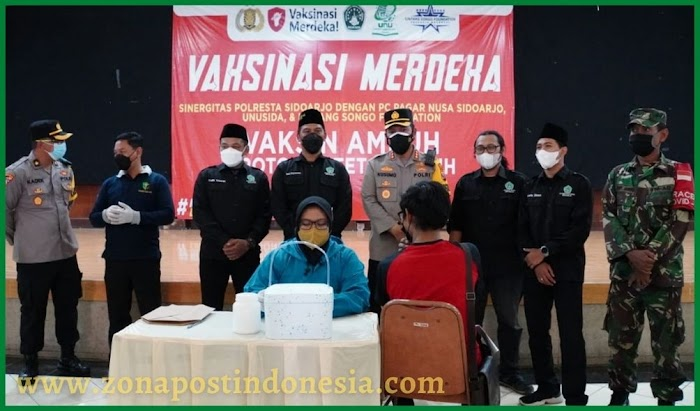 Gelar Akselerasi Vaksinasi, Polresta Sidoarjo Gandeng Komunitas Pagar Nusa dan Mahasiswa UNUSIDA
