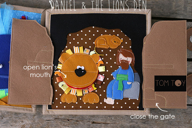 Bible quiet book, church busy book, handmade fabric Bible storyDaniel & the Lions Den