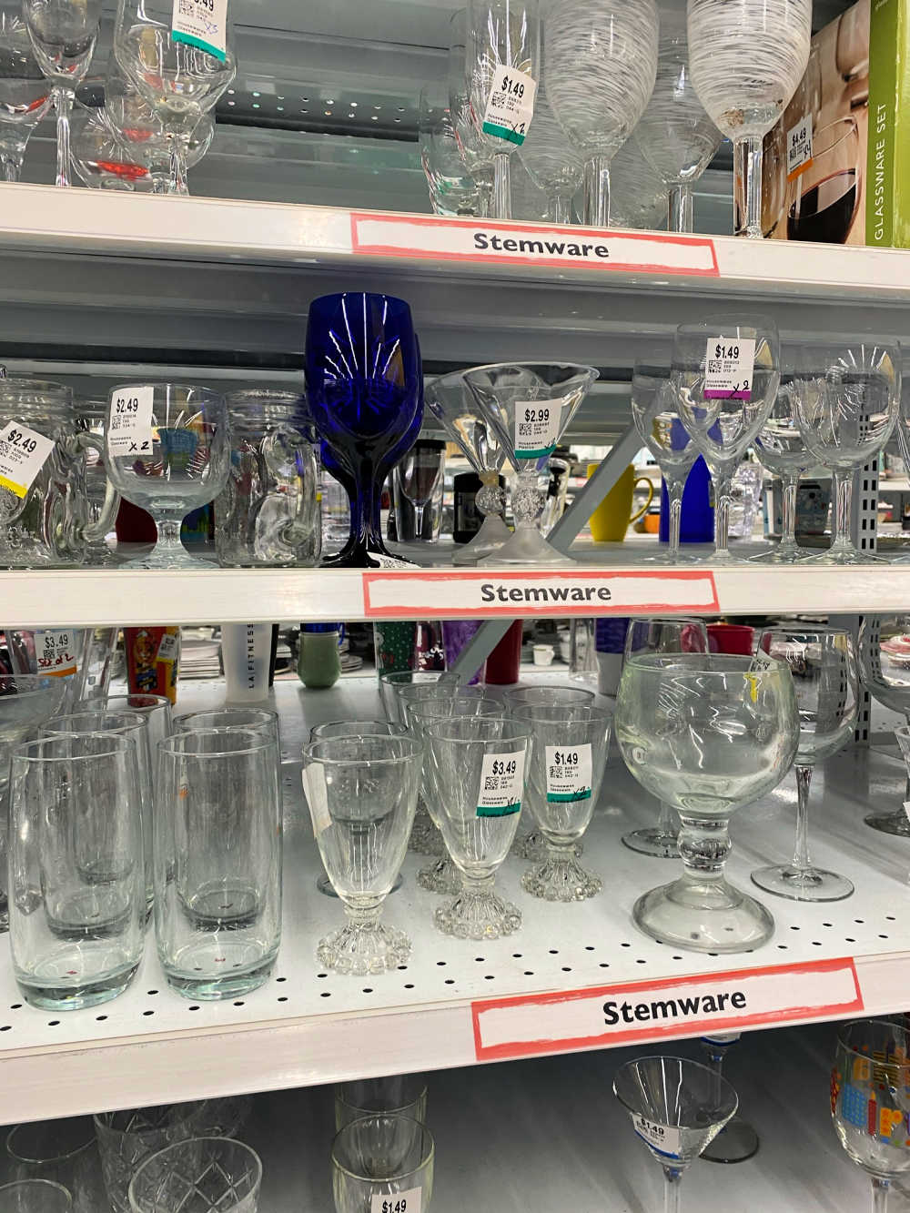 glassware from a thrift shop
