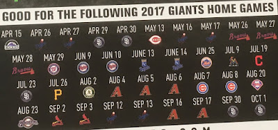 Costco 1119983 or 1119988- Schedule of games including NL West rivals LA Dodgers or an interleague game against AL Champ Cleveland Indians